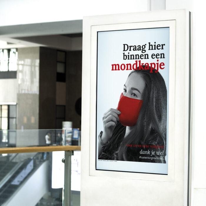 Poster Draag hier binnen een mondkapje