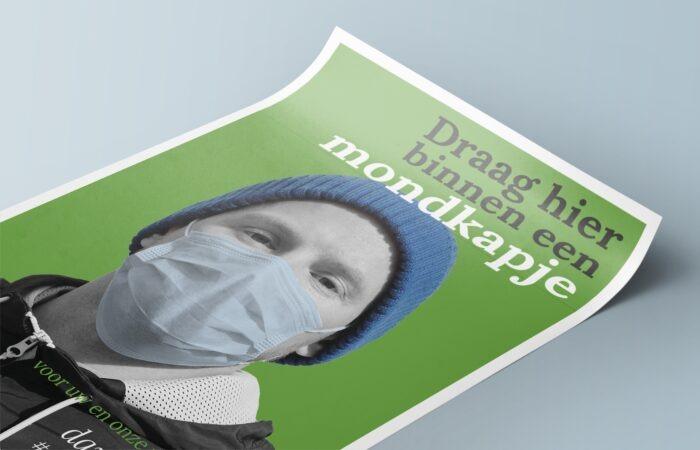 Groene poster van man met mondkapje