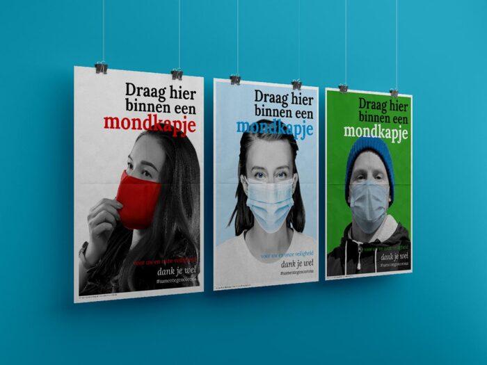 """Poster 'Draag hier een mondkapje"""" _Rooijenburg"""