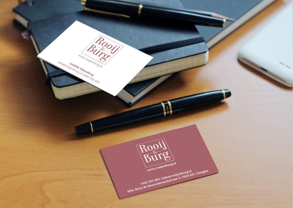 Visitekaartjes dubbelzijdig full colour Rooij & Burg  Grafische vormgeving | Huisstijl ontwerp